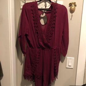 Charlotte Russe 3/4 sleeve romper 1x lace maroon